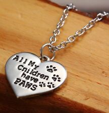 All My Children Have Paws Heart Pendant Necklace