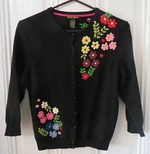 Lucky Brand Boho Art-to-Wear Black Multi Embroidered Cardigan Sweater-M/L