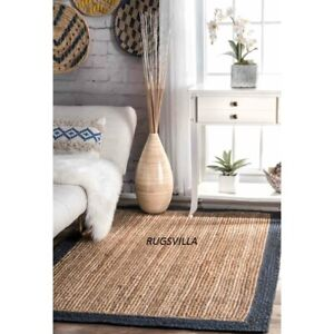 Jute Rugs 100%Natural Hand Braided Bohemian living area vintage look Jute Rugs