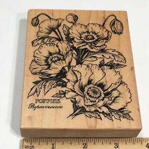 PSX Poppies Papaveraceae Wood Mounted Rubber Stamp K-1613 Botanical Flowers 1995