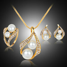 Bridal Bridesmaid Wedding Party Jewelry Set Crystal Pearl Necklace Earrings Ring