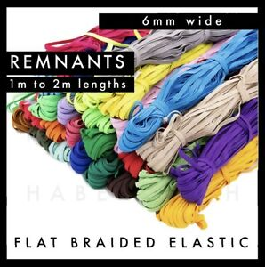 REMNANTS Colourful Flat Braided Elastic 6mm per metre Band colour