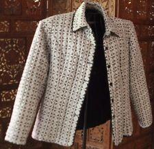 L Silkland Silk classic jacket/ warm blazer Black & White geometric print