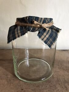 Antique Blown Glass Pantry Apothecary Storage Jar AAFA Old Blue Fabric Lid Top