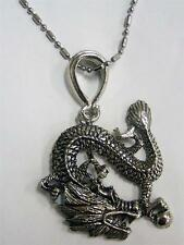 LARGE CHINESE DRAGON PENDANT ON STAINLESS STEEL BALL CHAINS NECKLACE mens womens