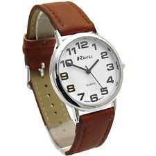 Ravel Mens Super-Clear Easy Read Quartz Watch Brown Strap White Face R0105.32.1A