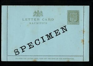 MAURITIUS 4 Cents Olive PREPAID STATIONARY LETTER CARD A1a Specimen - M08
