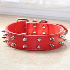 "Orange Leather 1.2"" Wide 2 Rows Spiked Studded Pet Dog Collar Big Dog Pitbull"