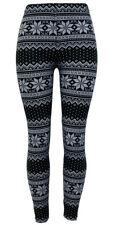 Christmas Holiday Pattern Leggings White-Black Snowflake Super Soft ONE SIZE-US