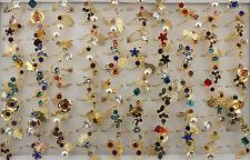50pcs Newest Style Bulk Lots Gold P Jewelry Handmade Alloy Rhinestone Ring EH466