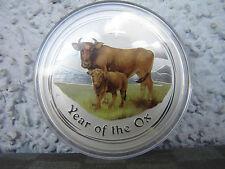 2009 Perth Mint Year Of The OX  2 oz .999 silver coin Colored