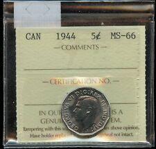 1944 Canada Five Cents - ICCS MS-66 - Cert#XAF125
