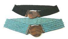 Lot Of 2 Fashion Stylish Belts Seed Beads Stretch Black Blue Wood