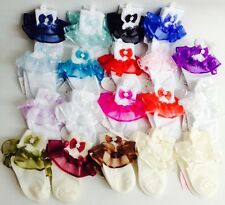 NEW Girls Wedding Pageant Baptism Ruffle Bowtie Pearl White IV Lace Party socks