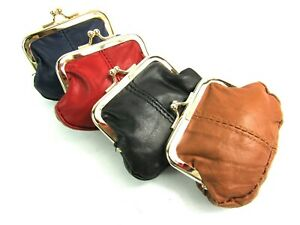 LADIES GIRLS SMALL SOFT REAL LEATHER CLIP TOP COIN PURSE POUCH WALLET CLIP TOP