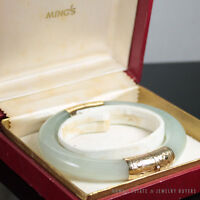 MING'S HAWAII 14K YELLOW PALE GREEN THICK HINGED JADE BANGLE BRACELET SIGNED