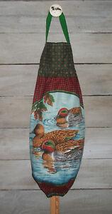 Plastic Grocery Bag Rag Sock Holder Green-Winged Teal Drakes & Hen Ducks Lake