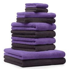 Betz Lot de 10 serviettes Classic Premium 100% coton marron foncé & violet