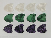 12 MIXED SHARK FIN PLECTRUMS PICKS 3 Colours & 3 Gauges Celluloid Sharkfin