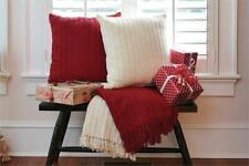 "Christmas Country Cozy Warm Red Cable Throw 50"" x 60"" 100% Cotton -Park Designs"