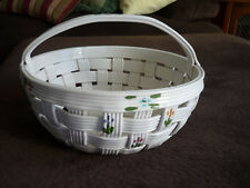 Beautiful Ceramic Open Weave Basket W Handle/ Large