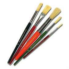 Paint Brushes Set of 5 Hog Bristle Round Flat Tip Short Handle Brushes 583-5CFR