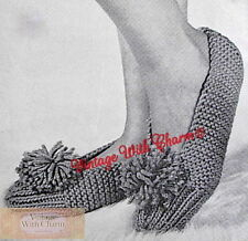 Vintage Knitting Pattern Slippers With Pom-pon To Fit A Medium Foot.  JUST £1.99