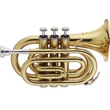 More details for trumpet bb pocket trumpet in red blue or black - complete outfit by chase
