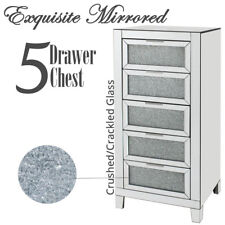 Embossed Crushed Mirrored Glass Tallboy Tall Storage 5 Chest Drawers Sideboard