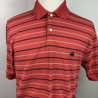 Brooks Brothers Men's Performance Polo Shirt Pink w/ Stripes Size M