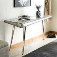 "Safavieh Aviator Silver Industrial Console Table White 55"" x 23"" x 29"""