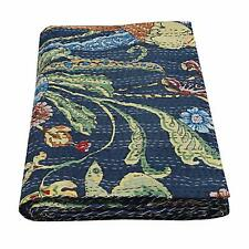 Indian Handmade Bird Print King Kantha Quilt Bohemian Decor Bedding Thow Blanket