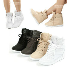 Women Fashion Sneakers Wedges High Top Lace up Hidden High Heel Made in Korea