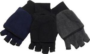 Mens Thermal Insulation Fleece Fingerless Mitten Winter Gloves, Warm Glove-Mitt