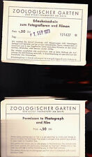 Frankfurt Zoo Permission to Film 1973 Permit Zoologischer Garten Germany