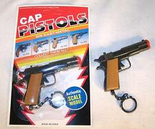 2 CARDED DIECAST 45 MAGNUM KEY CHAIN novelty cap gun toy NEW play pistol metal