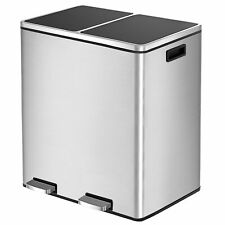 16 Gal Step Trash Can Double Recycle Pedal Bin 2x30L Garbage Bin Stainless Steel