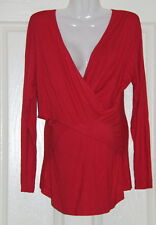 Womens size XL (16) red stretch wrap style maternity top made by NINTH MOON