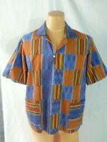 VTG 70-80s Shirt Pull-Over Cabana Wear Orange Blue Red Beach Psychedelic Hippy L