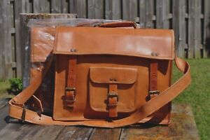 (2) Two New Genuine Leather Briefcase Bag Brown Antique Vintage Looking Unisex