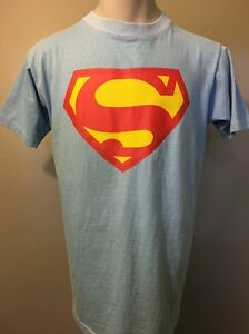 Vtg 1970s 70s Superman Cotton T-Shirt Mens XL Comic Super Hero USA Blue Red SS