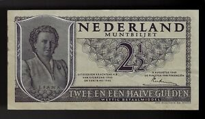 Netherlands 2 1/2 Gulden 1949 Pic# 73