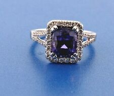 18K White Gold .78ct Diamond and 3.31ct Tanzanite Ring Size 7