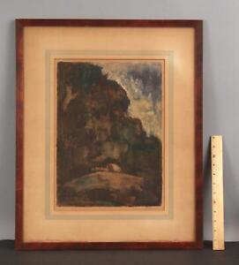 Antique EUGENE HIGGINS Western Covered Wagon Pioneers MONOTYPE Etching