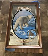 (L@@K) 1993 Hamms Beer Polar Bear Wooden Framed Mirror Bar Sign