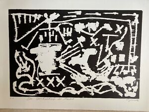 """A R Penck großer signierter Holzschnitt 1985 """"Dunkelheit der Macht"""""""