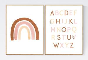 Set of 2 Nursery Prints, Rainbow Print, Alphabet Print, Kids Wall Art