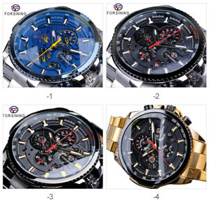FORSINING Mens Three Dial Stainless Steel Waterproof Mechanical Watch A8O3