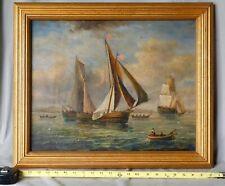 Antique original oil on panel seascape J. Clark fishermen vessels American flags