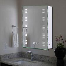 RECTANGULAR LED ILLUMINATED BATHROOM MIRROR CABINET DEMISTER SHAVER SENSOR CLOCK